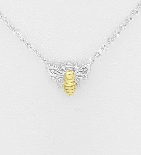 925 Sterling Silver Bee Pendant, Center Plated with 1 Micron 18K Yellow Gold